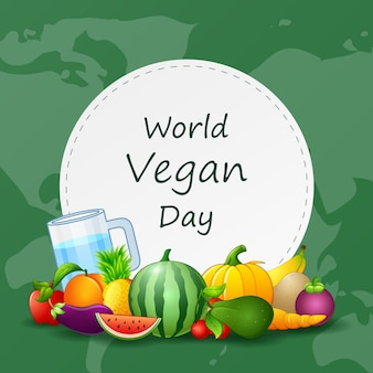 Background for world vegan day in cartoon style