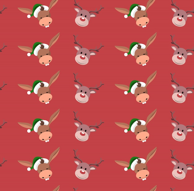 Background of wrapping paper with christmas characters
