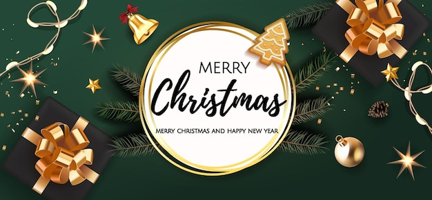 背景弓、モミの木の枝、クリスマスボール、星、ベル、ライトガーランド、ジンジャーブレッドと現実的なギフトボックスのクリスマスデザイン。