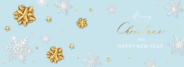 Background xmas  poster of sparkling lights star and snowflake and glitter gold confetti.