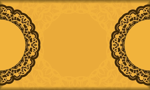 Background in yellow color with abstract brown pattern for design under logo or text