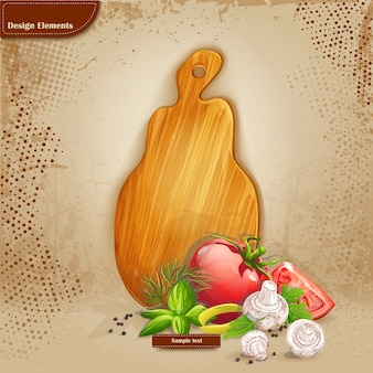 Background for your text with a cutting board and vegetables
