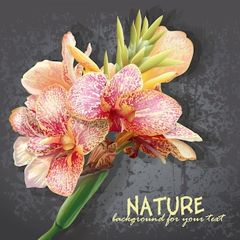 Background for your text with yellow flowers with pink stains. flowers like orchids.