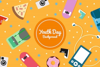 Background for youth day with retro elements