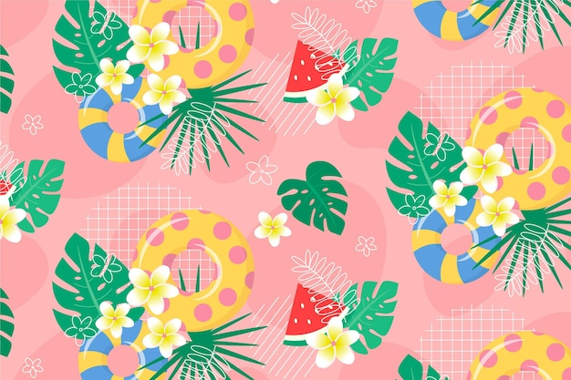 Background for zoom with summer pattern theme