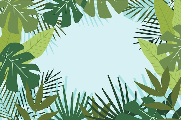 Background for zoom with tropical leaves
