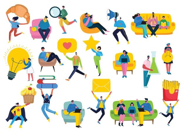 Фоны в плоском дизайне группы людей, занимающихся различной деятельностью в плоском стиле