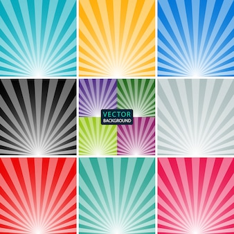 Backgrounds set of the sun and the sun's rays. stock illustration