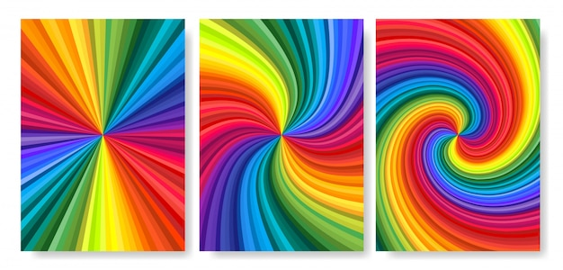 Backgrounds set of vivid rainbow colored swirl twisting towards center.