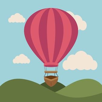 Воздушный шар дизайн над пейзажем backgroundvector иллюстрации