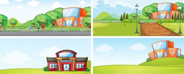Комплект школьного здания backgrounf