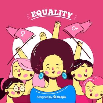 女性の異人種グループbackgrpund