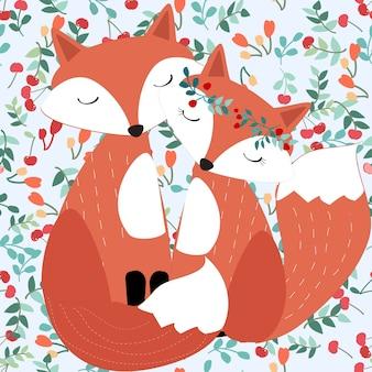 Симпатичная пара лиса в довольно вишневый backgrund