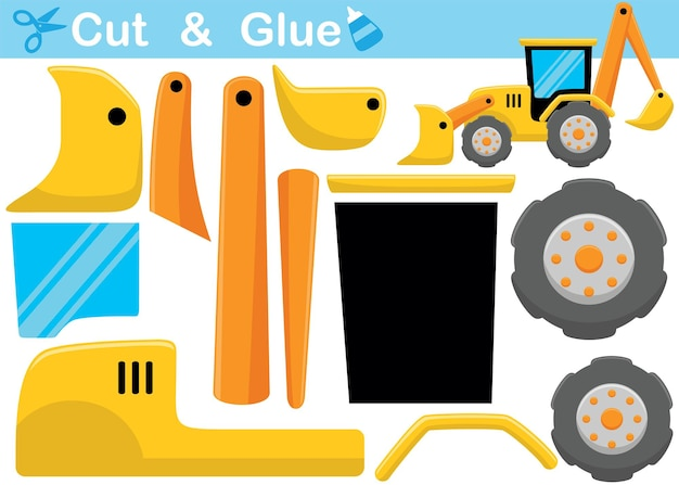 Backhoe cartoon. education paper game for children. cutout and gluing