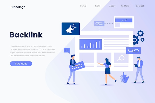 Backlink illustration landing page. landing page