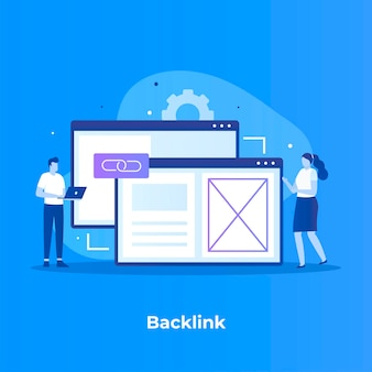 Backlink illustration with woman and man near screen laptop