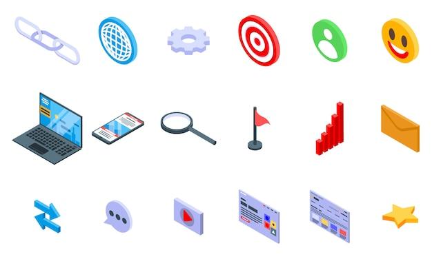 Backlink strategy icons set, isometric style