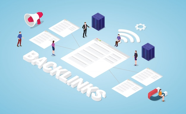 Backlinks seo search engine optimization concept with modern isometric style