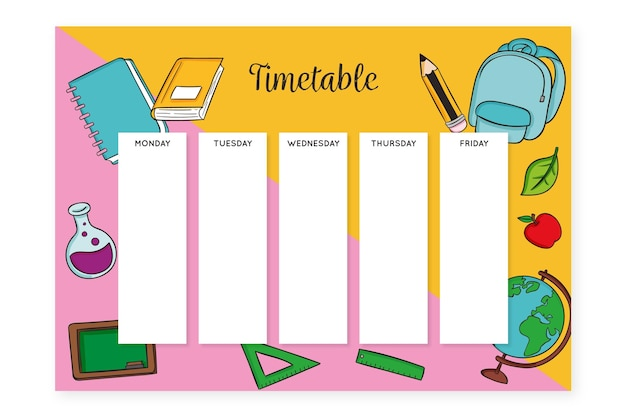 バックパックとアクセサリーの手描きの学校の時間割