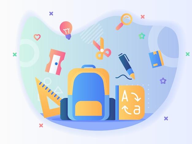 Рюкзак и стационарный набор иконок, линейка, точилка, ножницы, ручка, словарь, обратно в школу, концепция с плоским дизайном вектора