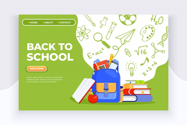 Backpack, apple, books and school supplies banner