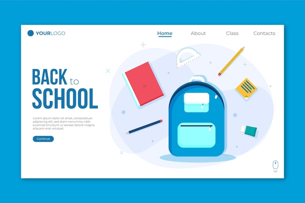 Backpack back to school landing page