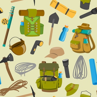 Backpack camp  backpacking travel bag with tourist equipment in hiking camping and climbing sport knapsack or rucksack set illustration seamless pattern background