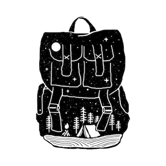 Backpack camping nature  illustration