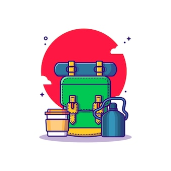 バックパックの水筒とコーヒーの漫画イラスト