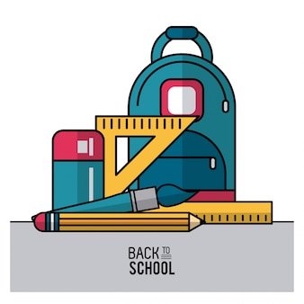 Backpack and essential elements of school