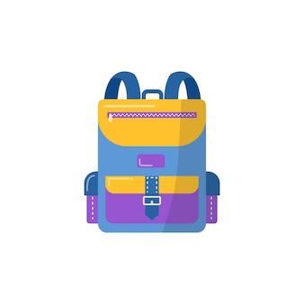 学用品用のバックパック。ベクトル学校の背景に戻る、文房具付きのバッグ。オフィスアクセサリー。