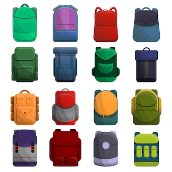 Backpack icon set, cartoon style
