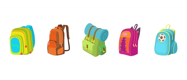 Backpack icon set