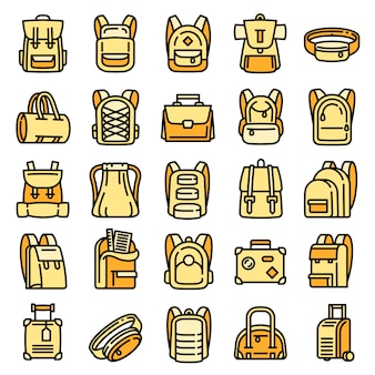 Backpack icons set, outline style