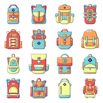 Backpack icons set