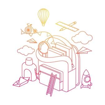 Рюкзак представляет собой иллюстрации розового и оранжевого цветов
