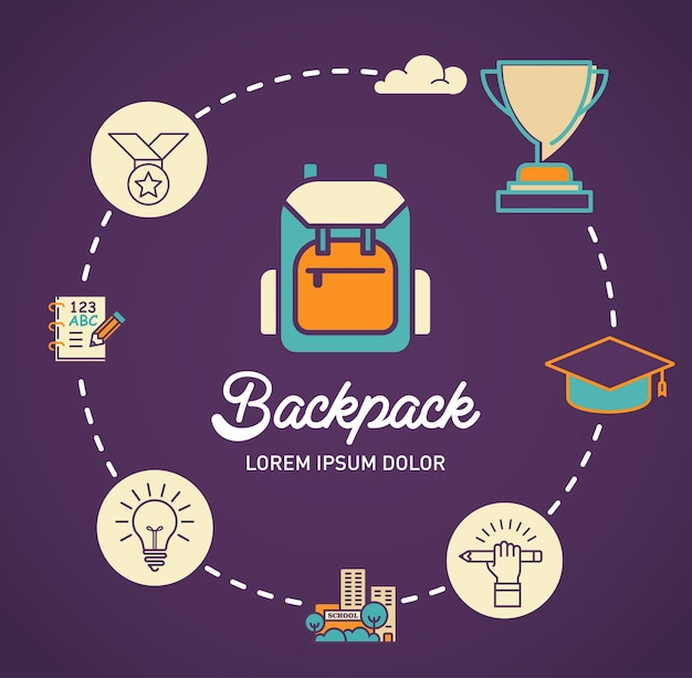 Backpack infographic vector design