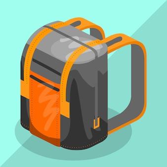 Backpack isometric schoolbag educational