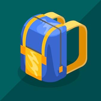 Backpack isometric schoolbag
