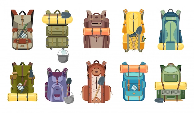 Backpack or rucksack with tourist equipment icons