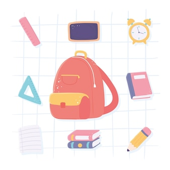 Backpack and school icons