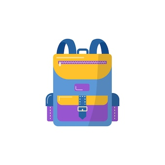 Backpack for school supplies. vector back to school background, bag with stationery. office accessories.