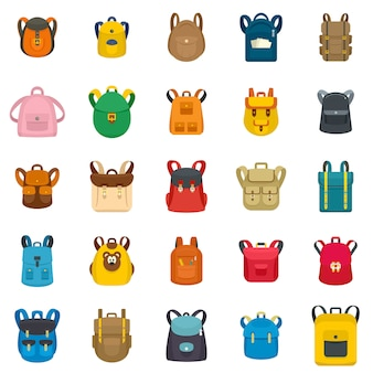 Backpack school travel sport kid camping bag icons set