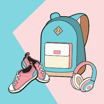 Backpack, sneakers and headphones vector isolated set