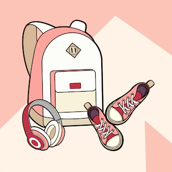 Backpack, sneakers and headphones vector isolated set.
