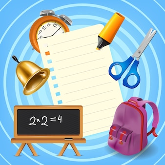 Рюкзак, принадлежности и чистый лист бумаги на синем фоне
