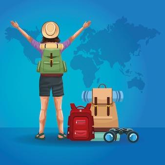 Backpack traveler tourist back cartoon