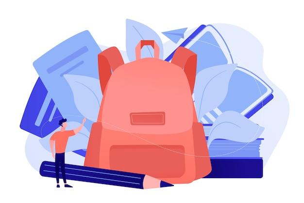 本、ノート、鉛筆、学生が入ったバックパック。学用品や文房具、教育ツールやアクセサリー、学習機器のコンセプトに戻る