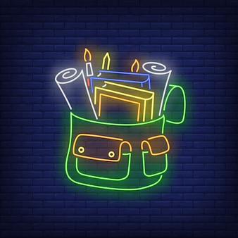 Backpack with stationery neon sign