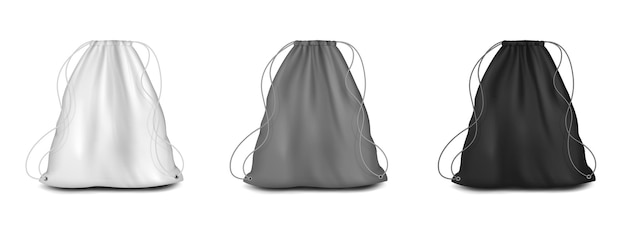 Backpack with strings mockup set vector illustration white grey black drawstring canvas pouch sport ...